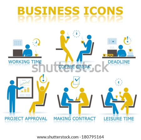 Business icons illustrating the working time in the office - stock vector
