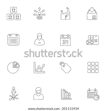 Business icons line drawing by hand Set 7 - stock vector