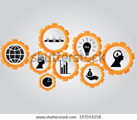 Business icons, management and human resources - stock vector