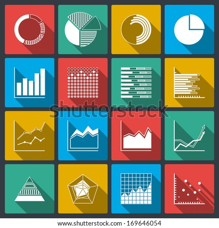 Business icons of ratings graphs and charts, infographic elements set isolated vector illustration - stock vector