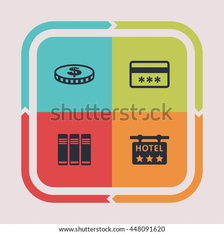 Business icons. Office pictogram. Finance vector graphic. Commerce design collection.
