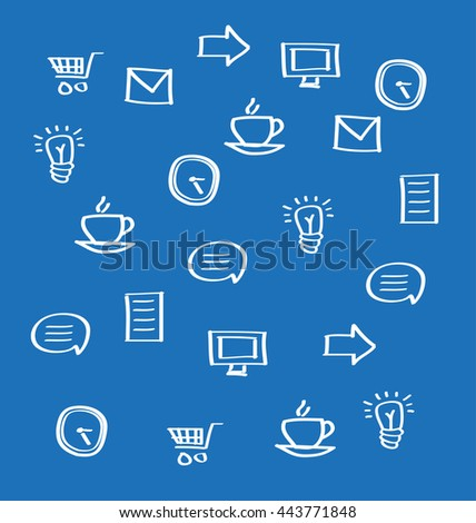 Business icons on blue background