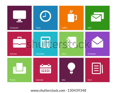 Business icons on color background. Vector illustration. - stock vector