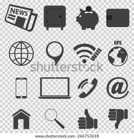 Business icons on the chess gray background vector - stock vector