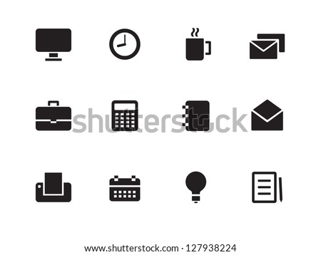 Business icons on white background. Vector illustration. - stock vector