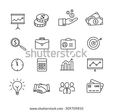 Business icons, productivity, team work, human resources, management. Thin lines style. - stock vector