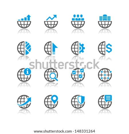 Business icons reflection theme - stock vector