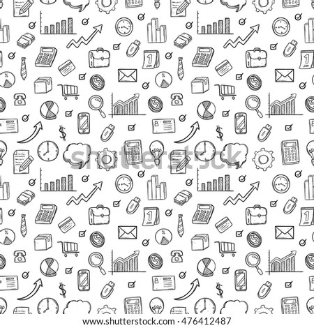 business icons seamless pattern using doodle art on white background