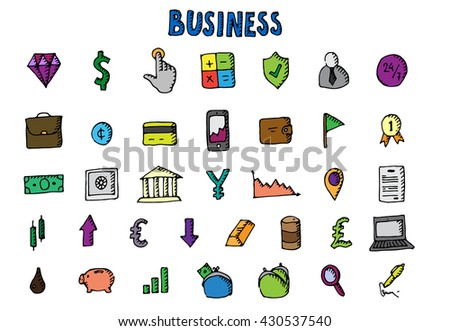 Business icons set. Big hand drawn collection. Vector stock illustration