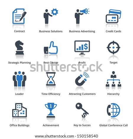 Business Icons Set 2 - Blue Series  - stock vector