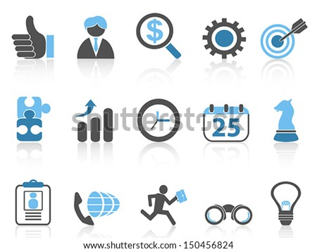 business icons set,blue series - stock vector