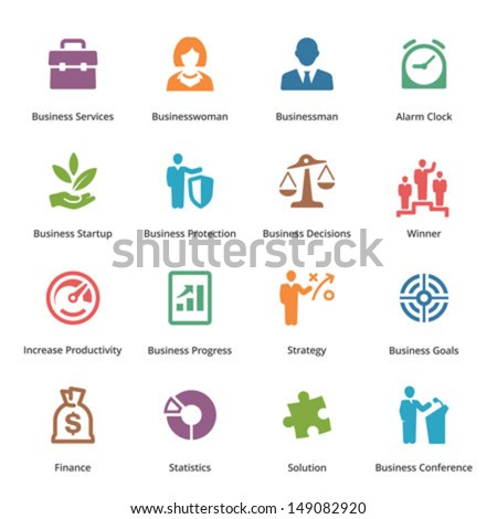 Business Icons Set 1 - Colored Series  - stock vector