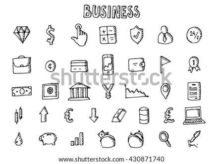 Business icons set. Diamond icon, calculator icon, manager icon, case icon, bank icon, money icon, chart icon, gold icon, laptop icon, business icon. Hand drawn collection. Vector stock illustration