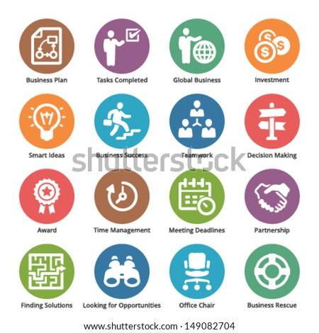 Business Icons Set 3 - Dot Series  - stock vector