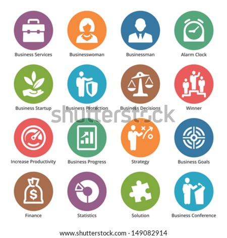 Business Icons Set 1 - Dot Series  - stock vector