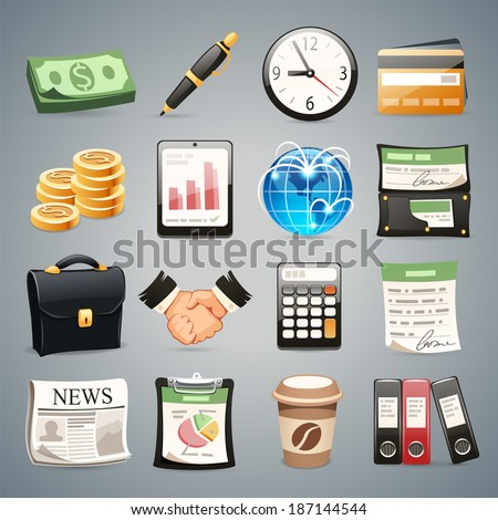 Business Icons Set1.1 In the EPS file, each element is grouped separately. - stock vector