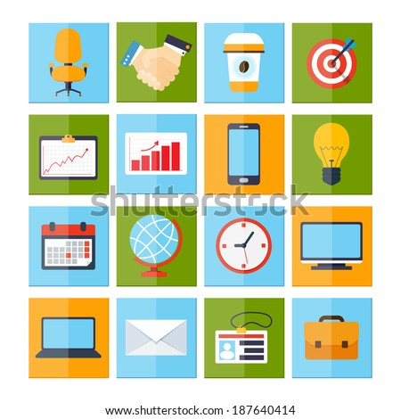 Business icons set of chair handshake coffee aim chart mobile phone isolated vector illustration - stock vector