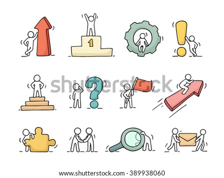 Business icons set of sketch working little people with arrow, flag, gear. Doodle cute miniature scenes of workers. Hand drawn cartoon vector illustration for business design and infographic. - stock vector