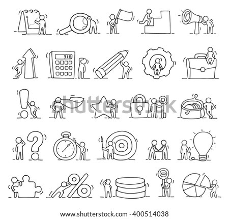Business icons set of sketch working little people with lamp idea, target. Doodle cute miniature scenes of workers. Hand drawn cartoon vector illustration for business design and infographic. - stock vector