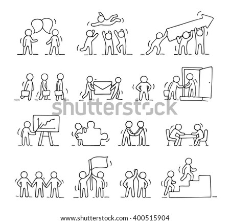 Business icons set of sketch working little people with puzzle, teamwork. Doodle cute miniature scenes of workers. Hand drawn cartoon vector illustration for business design and infographic. - stock vector