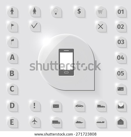 Business icons set on a glass, vector illustration - stock vector