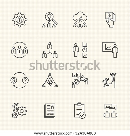 Business Icons Set, Team building concept - stock vector