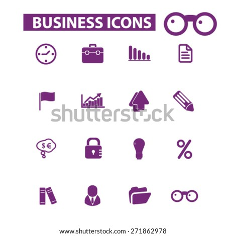 business, icons, signs, illustrations set, vector - stock vector