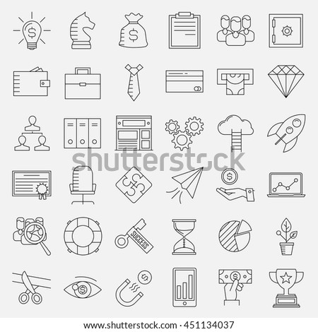 Business icons. Start up and management signs. Safe, wallet, archive, career ladder, key to success, money magnet and other things. Line art vector illustration.