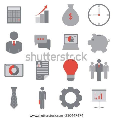 Business icons. Vector set, flat design, EPS 8. - stock vector