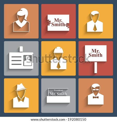 Business icons, white on colored squares with shadow - stock vector