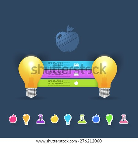 Business Idea Concept Bulbs, Numbers Infographics Selection Vector Design  - stock vector