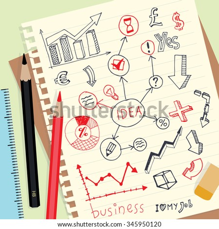 Business idea doodle on Flat style note paper background. Isolated hand drawn vector illustration