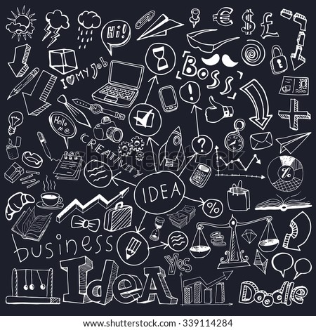 Business Idea Doodle Set. Freehand vector drawings. Isolated dark background