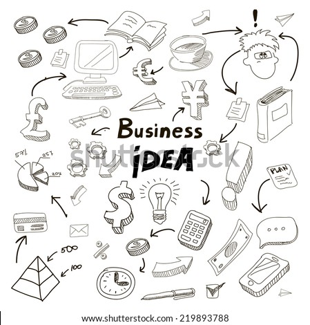 Business Idea doodles icons set. Vector illustration. - stock vector