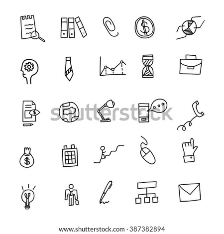 Business Idea hand drawn doodles icons set. Vector illustration - stock vector