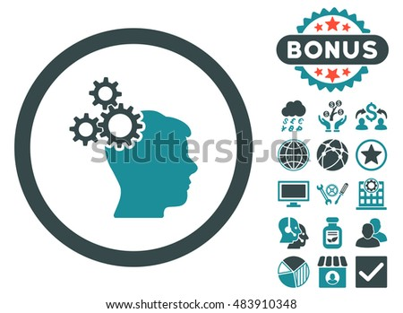 Business Idea icon with bonus elements. Vector illustration style is flat iconic bicolor symbols, soft blue colors, white background.