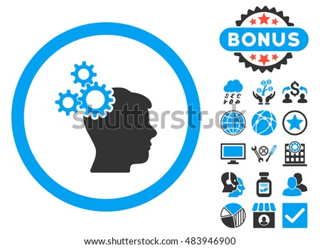 Business Idea icon with bonus elements. Vector illustration style is flat iconic bicolor symbols, blue and gray colors, white background.