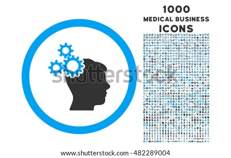Business Idea rounded vector bicolor icon with 1000 medical business icons. Set style is flat pictograms, blue and gray colors, white background.