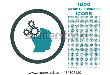 Business Idea rounded vector bicolor icon with 1000 medical business icons. Set style is flat pictograms, soft blue colors, white background.