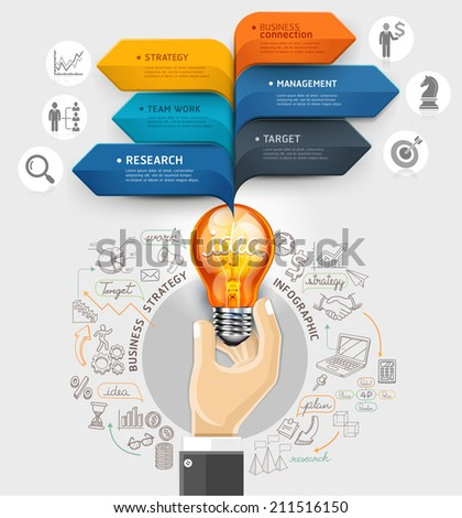 Business ideas concept. Hand holding light bulb and bubble speech arrow template. Can be used for workflow layout, banner, diagram, web design, infographic template. - stock vector