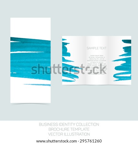 Business identity collection: turquoise tiffany teal watercolor. Tri-fold brochure or flyer template. Vector Illustration EPS10. - stock vector