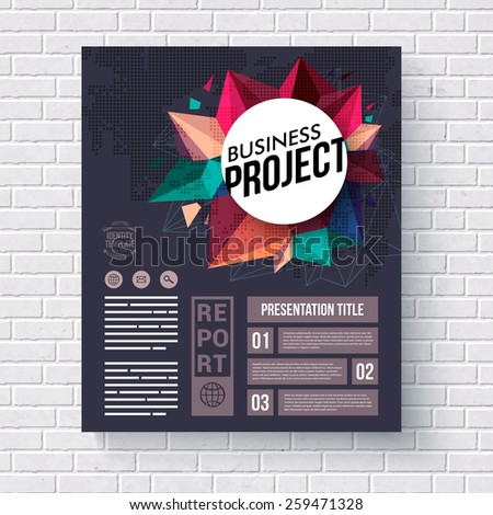 Business Identity Web Template with Creative Graphic Designs on a White Brick Wall Background. Vector illustration. - stock vector