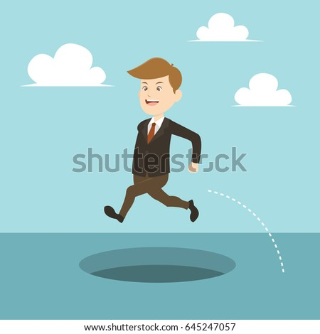 business illustration businessman jumping avoid pit