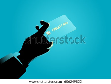 Business illustration of a hand giving a credit card