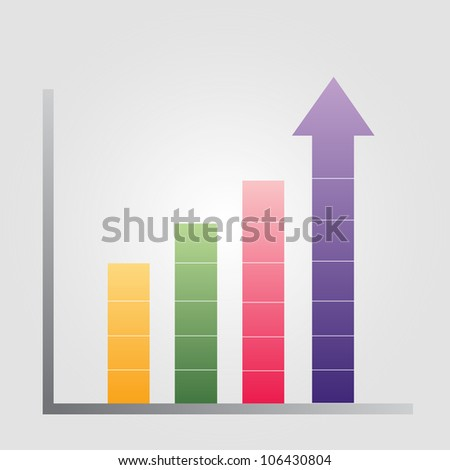 Business illustration  of bar graph with rising arrow - stock vector