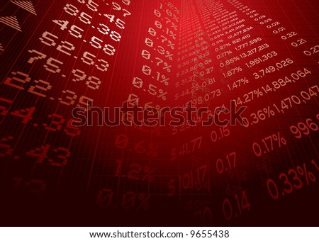Business illustration showing stock market figures on a grid - stock vector