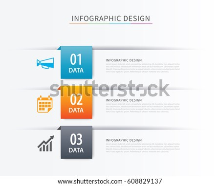 Business index infographics template with 3 data. Can be used for workflow layout, diagram, number options,  web design, presentations,tab.