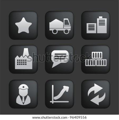 business & industry black buttons set, vector - stock vector