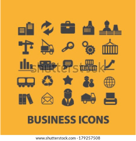 business, industry, factory, construction icons set, vector - stock vector