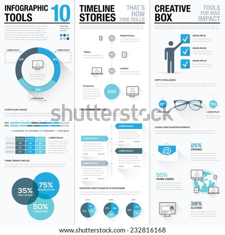 Business info graphics vector elements set. Big collection of modern flat graphic elements in blue colors. Lots of creative elements to make your own infographics. - stock vector